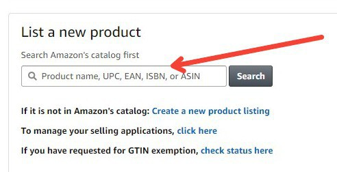 list a new product on Amazon screenshot