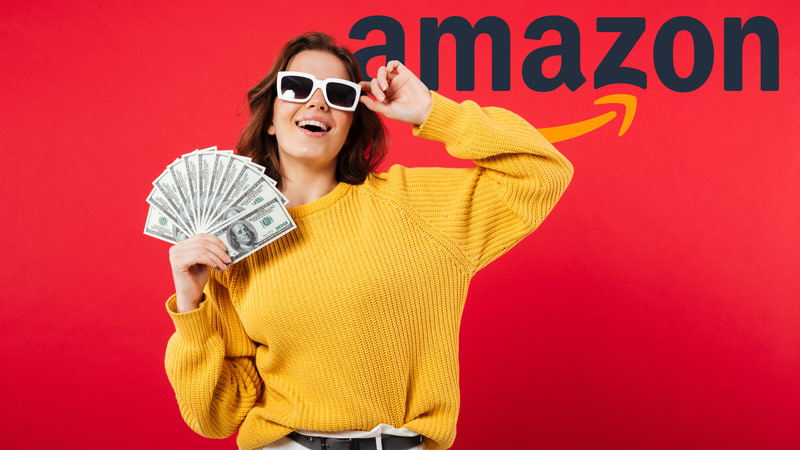 A woman with all the money she earns from online arbitrage