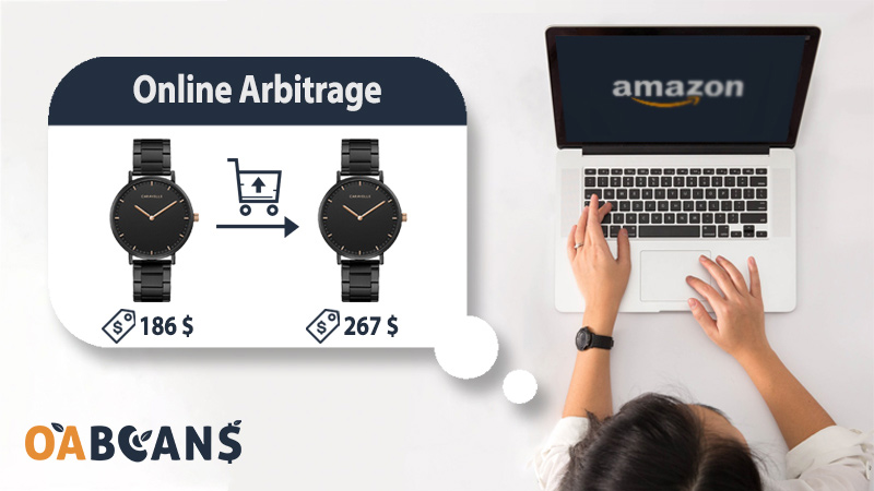 A woman in front of laptop doing Amazon online arbitraginh