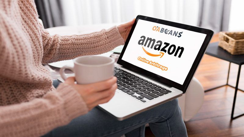 a woman is amazon online arbitraging with laptop