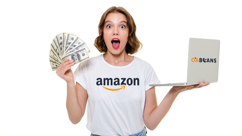 a woman with lots of money make it from amazon fba by her laptop