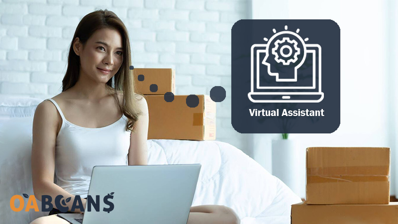 A Woman Doing FBA Business with her laptop using virtual assistant