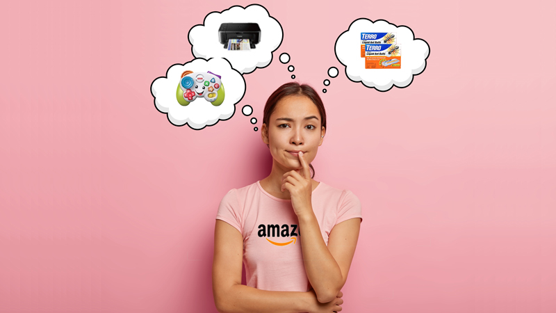 woman thinking about the most selling products on Amazon