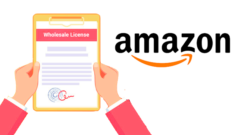 Man is holding Amazon Wholesale License in his hands