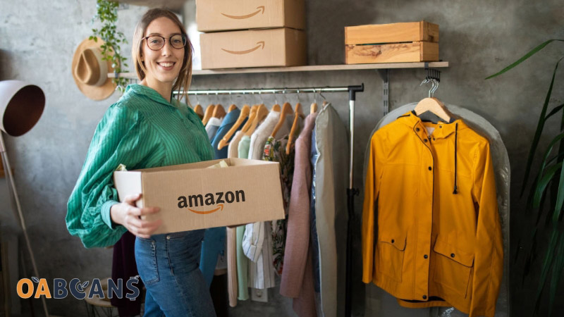 Woman is Packing her clothes in Amazon boxes to send it to customer